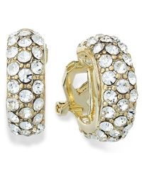 Lauren by Ralph Lauren | White 14K Gold Plated Pave Crystal Small Hoop Clip On Earrings | Lyst
