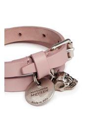 Alexander McQueen - Pink Skull Charm Double Wrap Leather Bracelet - Lyst