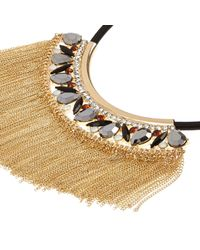 River Island | Black Fringed Embellished Statement Necklace | Lyst