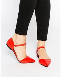 ASOS | Red Late Night Pointed Ballet Flats | Lyst