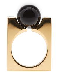 Chloé - Metallic Gold & Black Square Darcey Ring - Lyst
