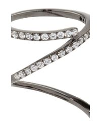 Fallon | Metallic Gunmetal Pavé Ribbon Ring | Lyst