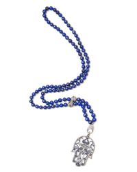 CB Bronfman - Blue Palm Beaded Necklace - Lyst
