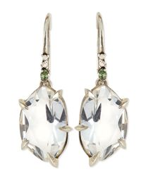 Alexis Bittar Fine | Metallic Quartz Drop Earrings With Claw Sapphires & Diamonds | Lyst