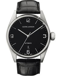 Georg Jensen | Gray Delta Classic Stainless Steel And Leather Automatic Watch 42mm | Lyst