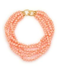 Kenneth Jay Lane | Orange Beaded Six-strand Necklace | Lyst