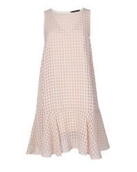 Tibi | Pink Windowpane Jacquard Drop Waist Dress | Lyst