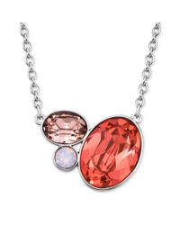 Swarovski - Red Rhodiumplated Rose Crystal Cluster Pendant Necklace - Lyst