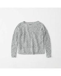 Abercrombie & Fitch - Gray Shaker Stitch Sweater - Lyst