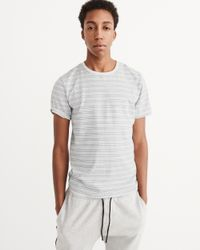 Abercrombie & Fitch - White Striped Crew Tee for Men - Lyst