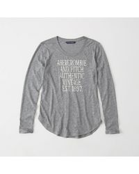 Abercrombie & Fitch - Gray Long-sleeve Logo Tee Exchange Color / Size - Lyst