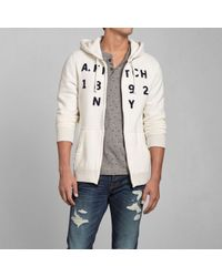 Abercrombie & Fitch - White Logo Graphic Hoodie for Men - Lyst