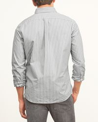 Abercrombie & Fitch - Gray Striped Twill Pocket Shirt for Men - Lyst