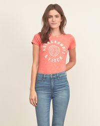 Abercrombie & Fitch - Black Applique Logo Graphic Tee - Lyst