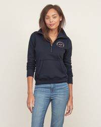 Abercrombie & Fitch - Blue Mockneck Half-zip Sweatshirt - Lyst