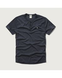 Abercrombie & Fitch - Blue Muscle Fit Henley for Men - Lyst