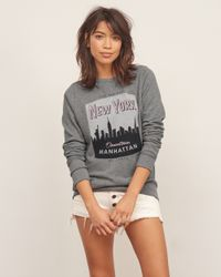 Abercrombie & Fitch - Gray Nyc Graphic Crew Sweatshirt - Lyst