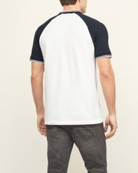Abercrombie & Fitch - White Band Collar Baseball Henley for Men - Lyst