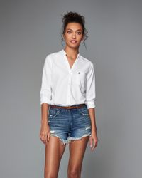 Abercrombie & Fitch - White Mandarin Collar Oxford Shirt - Lyst