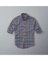 Abercrombie & Fitch | Blue Plaid Cotton Poplin Shirt for Men | Lyst