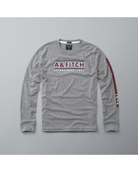 Abercrombie & Fitch - Gray Graphic Long-sleeve Tee for Men - Lyst