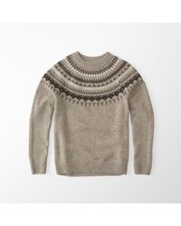 Abercrombie & Fitch | Brown Nordic Pattern Crew Sweater for Men | Lyst