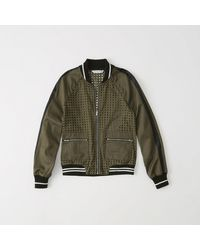 1f4bf4e05 Lyst - Abercrombie & Fitch Eyelet Bomber Jacket in Green for Men