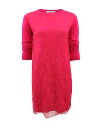 Valentino | Pink Long Sleeve Chantilly Lace Sweater Dress | Lyst