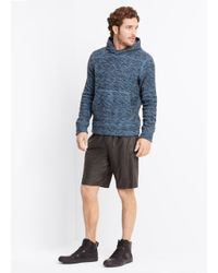 VINCE | Blue Marled Cotton Blend Pullover Hoodie for Men | Lyst