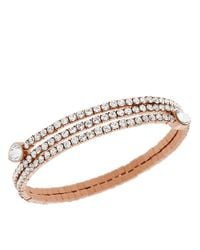 Swarovski | Pink Rose Goldtone And Crystal Twisted Bangle Bracelet | Lyst