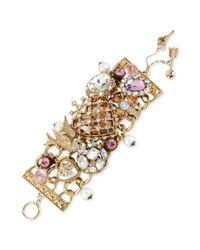 Betsey Johnson - Metallic Goldtone Glass Wide Multicharm Bracelet - Lyst