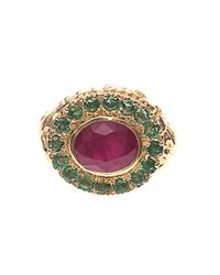 Jade Jagger - Red Ruby Emerald Yellowgold Ring - Lyst