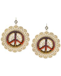 Betsey Johnson - Metallic Gold-Tone Colorful Peace Sign Filigree Large Drop Earrings - Lyst