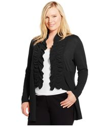 INC International Concepts | Black Plus Size Ruffled High-low Cardigan | Lyst
