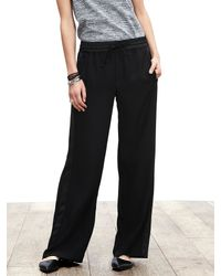 Banana Republic | Black Piped Wide-leg Soft Pant | Lyst