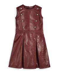 Gucci - Red Sleeveless Pleated Leather Dress - Lyst