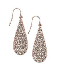 Lauren by Ralph Lauren - Pink Rose Goldtone Crystal Pavè Teardrop Earrings - Lyst