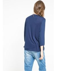 Mango - Blue Wrap Neckline Blouse - Lyst