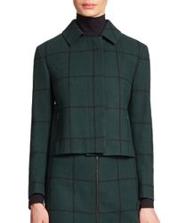 Akris Punto - Black Windowpane Cropped Wool Jacket - Lyst