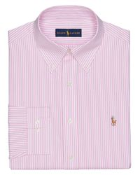 Polo Ralph Lauren - Pink Striped Pinpoint Oxford Dress Shirt for Men - Lyst