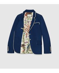 Gucci | Blue Silk-wool Jacket | Lyst