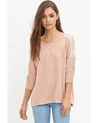 Forever 21 - Pink Crochet-paneled Slub Knit Top - Lyst