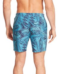 Original Penguin | Blue Palm Print Swim Trunks for Men | Lyst