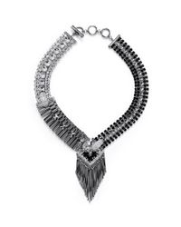 Iosselliani | Metallic Deco Cheetah Crystal Fringe Necklace | Lyst