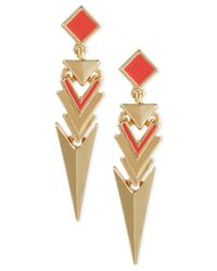 French Connection - Pink Gold-Tone Geometric Triangle Earrings - Lyst