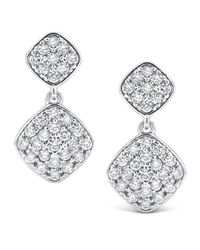 KC Designs | White Pavé Diamond Square Dangle Earrings | Lyst