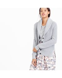 J.Crew - Gray Shawl-collar Cardigan Sweater - Lyst