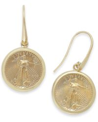 Macy's | Metallic Genuine Us Eagle Coin Drop Earrings In 22k And 14k Gold | Lyst