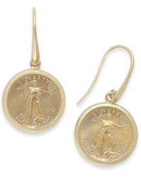 Macy's | Metallic Genuine Us Eagle Coin Drop Earrings In 22k And 14k Gold | Lyst