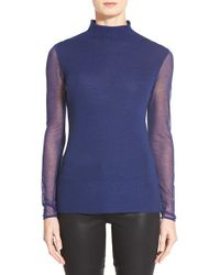 Elie Tahari - Blue 'maxina' Sheer Sleeve Merino Sweater - Lyst
